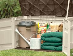 Boost your homes curb appeal by getting organized with budget-friendly outdoor storage solutions. Cut clutter with a shed or deck box to store all sizes of items, from a bulky lawnmower to cushions and gardening tools. Prepare yourself for changing seasons and unexpected weather with durable grill, pool, and chair covers to keep all your backyard essentials protected and dry. Backyard Storage, Outdoor Storage, Shed Organization, Organizing, Storage Solutions, Storage Ideas, Deck Box, Outdoor Sheds, Gardening Tools