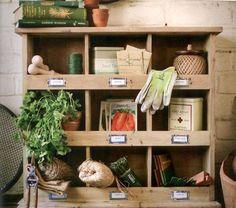 Fir Wood Shelving Unit - 6 Storage Cubbies - Fruit & Veg
