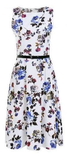 Vintage Style Sleeveless Roses Printed Belted Pleated Dress For Women#Vintage #Style #Floal #Roses #Fabric #Sleeveless #Summer #Dress #Fashion