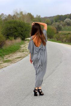 Grey Open Back maxi dress /Backless dress by cherryblossomsdress