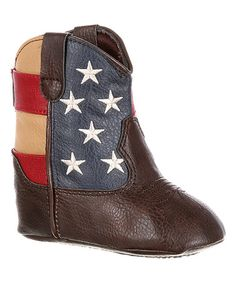 Another great find on #zulily! Brown & American Flag Western Boot - Infant #zulilyfinds