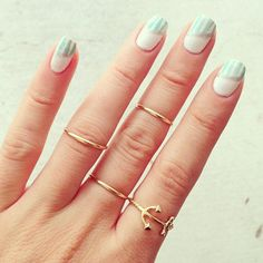 Mint Stripe Nails