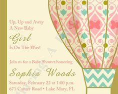 Hot Air Balloon Invitation - Hot Air Balloon Baby Shower - Girl Baby Shower Invitation - Vintage Invitations - Chic Baby Shower Invitation