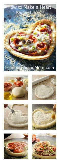 Step by Step Recipe: How to Make a Heart Shaped Pizza - What a fun activity to do with the kids. Let them pile on their favorite toppings.