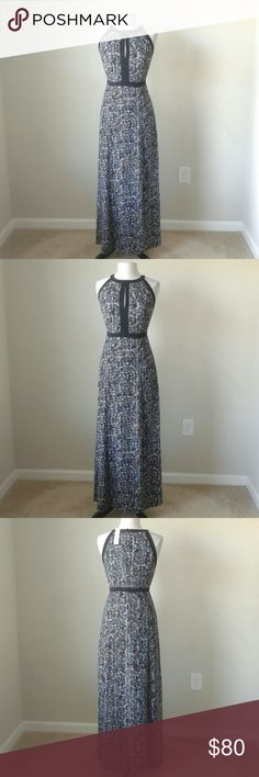 Printed contrast trim maxi long dress -Side front slit -Lined upper half -Shell: 100% polyester   Measurements in inches  Size 8: waist 31.5, length 57  Size 10: waist 32.5, length 57  Size 14: waist 35.5, length 59  BUST MEASUREMENT IS NOT GIVEN BECAUSE PLEATS AROUND BUST MAKE IT DIFFICULT TO GET ACCURATE MEASUREMENT. White House Black Market Dresses Maxi