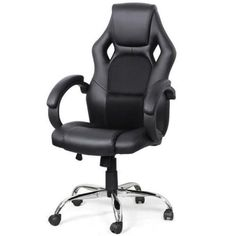 Black Hydraulic High Back Race Car Bucket Seat Computer Gamer Desk Office Chair #NA #BucketSeatChair