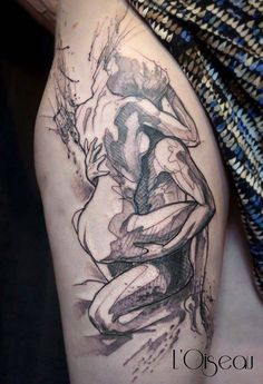 Sketch work style erotic tattoo on the right thigh. Tattoo Artist: L'oiseau · Franck Soler