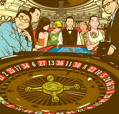 MACAO CASINOS.  Illustration for an article about the gambling scene in Macao. The article was both fun and a bit scary. It deals with game addiction, corruption, money laundering and having fun.