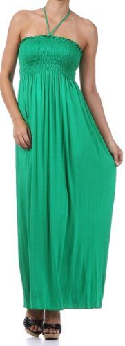 Comfortable Jersey Feel Solid Color Smocked Bodice String Halter Maxi / Long Dress $22.99