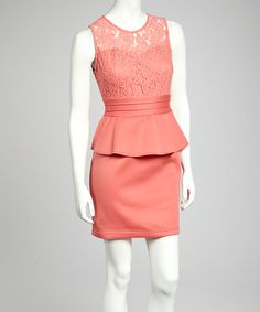 Coral Lace Peplum Dress by Bailey Blue on #zulily