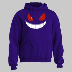 Gengar Face Kids Pokemon Boys Girls Hoodies Funny Gift Pullover Jumper Hooded