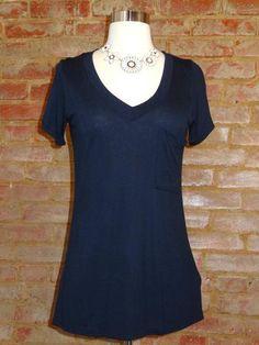 So, so soft - Navy v-neck knit tee. $31 - Avail at twistedsimplicity.com