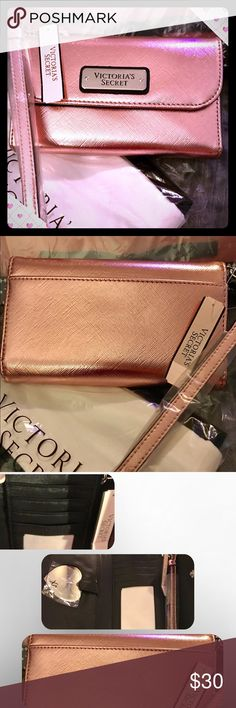 NWT *LTD EDITION 2016 PINK iPhone 6 wristlet 💝💝 NEW! *LIMITED EDITION* wristlet also fits my iPhone 7, I don't think it would fit 7+. The color is more like the first picture. Beautiful metallic pink is amazing! It has five credit card pockets, removable wrist strap and is awesome! Victoria's Secret Bags Clutches & Wristlets