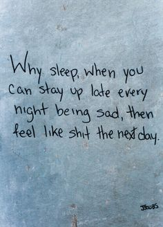 With no sleep it numbs the pain for the next day and i don't feel it as much the next day.