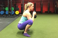 Molly Galbraith demonstrates a goblet squat.