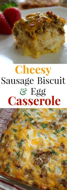 Sausage Biscuit and Egg Casserole – Forks 'n' Flip Flops This hearty Sausage Biscuit and Egg Breakfast Casserole is a perfect morning or brunch recipe to feed a hungry family. This easy egg bake can be made the night before or put together in 10 minutes. Breakfast Casserole Sausage, Breakfast Bake, Breakfast Dishes, Best Breakfast, Breakfast Recipes, Breakfast Ideas, Breakfast Cooking, Breakfast Muffins, Savory Breakfast