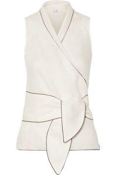 Max Mara - Linen Wrap Top - White - UK10