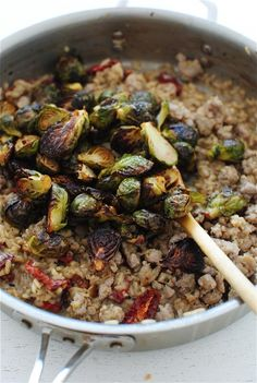 Risotto with Sausage, Brussels Sprouts and Sundried Tomatoes