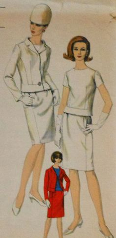 Vintage 60s Vogue Two Piece Dress and Jacket Sewing Pattern