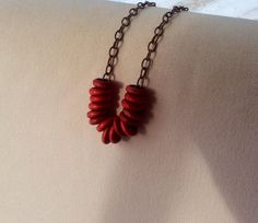 Red Chunky Circle Antique Bronze Necklace