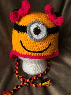 Pink minion inspired beanie with bows.