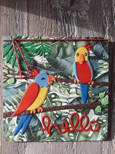 Gemaakt door Diana; kaartje met Eline's Birds, papier Piatek Trzynastego. Marianne Design Cards, Bird Cards, Tropical Vibes, Parrot, Scrapbooking, Paper Crafts, Kids Rugs, Birds, Birthday