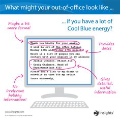 What might your out-of-office look like... Insights Discovery Cool Blue Colour Energy