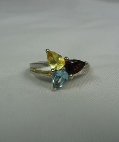 Vintage Multi Gemstone Ring 65 Sterling Silver by TheFashionDen, $28.00