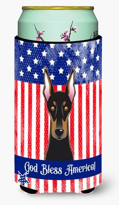 God Bless American Flag with Doberman Tall Boy Beverage Insulator Hugger BB2175TBC