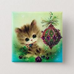 Vintage Christmas Kitten By ornament Square Sticker , Vintage Christmas Images, Old Christmas, Old Fashioned Christmas, Retro Christmas, Vintage Holiday, Christmas Pictures, Christmas Greetings, Christmas Holidays, Christmas Bulbs