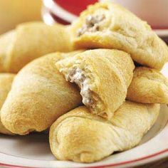 rattlesnake bites - ground beef, jalapenos, cream cheese and crescent rolls.
