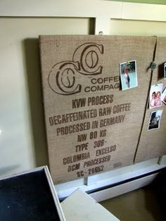 coffee sack covered cork board-for david