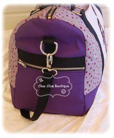 Sac de voyage Boston modèle Sacôtin en toile à sac et coton /violet et gris