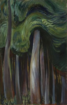 Emily Carr Forest, oil on canvas x cm Collection of the Vancouver Art Gallery, Emily Carr Trust Photo: Trevor Mills, Vancouver Art Gallery. Canadian Group of Seven Canadian Painters, Canadian Artists, Impressionist Paintings, Landscape Paintings, Oil Paintings, Emily Carr Paintings, Vancouver Art Gallery, Car Illustration, Illustrations