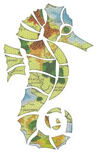 Seahorse card pattern. Was thinking it would be cool to cut an old map of someplace I've visited into this Seahorse pattern (a map of the beach, of course!.