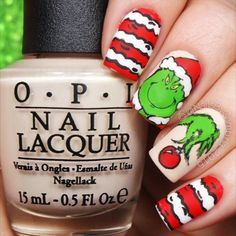 These are a recreation of @leximartone's grinch nails! She's too good. Go check her out. You're A Mean One Mr Grinch - How The Grinch Stole Christmas ❤️❤️❤️ @opi_products Alpine Snow, My Vampire Is Buff, and Matte Top Coat @twinkled_t #00 nail art brush | 10% off with code CAMBRIA Lots of acrylic craft paints @shopkeeki The Grinch nail decals