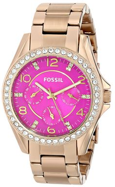 Fossil Women's ES3507 Riley Multifunction Stainless Steel Watch - Gold-Tone with Pink Dial