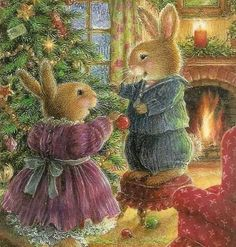 New Christmas Tree Illustration Susan Wheeler Ideas Susan Wheeler, Christmas Scenes, Christmas Pictures, Christmas Art, Family Christmas, Illustration Noel, Christmas Illustration, Illustration Artists, Lapin Art