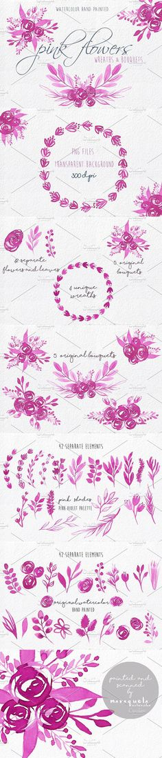 Pink Flowers watercolour clip art. Watercolor Flowers