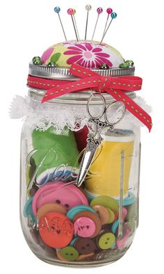 Nicole™ Crafts Sewing Kit Jar Cute for Christmas gifts to all the girls at work. Sewing Jars, Sewing Kit, Mason Jar Art, Mason Jar Gifts, Sewing Room Decor, Sewing Crafts, Sewing Projects, Mason Jar Projects, Ball Jars