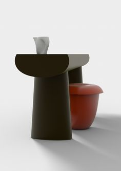 Urushi Table and Stool by Aldo Bakker for Danish design brand Karakter. The table and stool took one year to create using the Japanese technique of urushi.  (=)