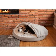 Dog Cat Bed Small Khaki Sherpa Lined Interior Luxery Warm Pet Snoozer Cozy Cave #Snoozer