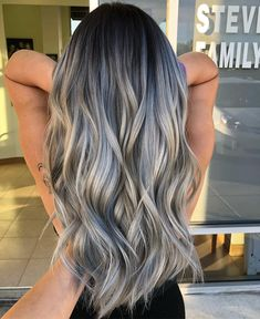 """6,572 Likes, 30 Comments - Balayageombre® (@balayageombre) on Instagram: """"Amazing smoke color ______________________________________________________ •one million…"""" Toner For Brown Hair, Toner For Blonde Hair, Grey Blonde Hair, Hair Toner, Silver Grey Hair, White Hair Highlights, Color Highlights, Ash Balayage, Hair Inspo"""