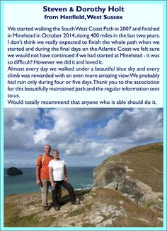 Steven & Dorothy Holt - South West Coast Path completers South West Coast Path, Cornwall, Paths, Coastal, Day, Travel, Viajes, Trips, Tourism