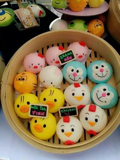 Character buns Cute Snacks, Cute Desserts, Cute Food, Yummy Food, Steamed Bao, Japanese Bread, Cute Bento Boxes, Homemade Dumplings, Bread Art