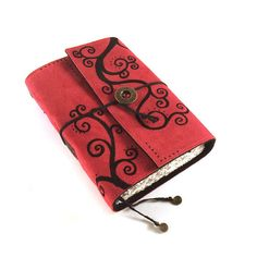 Journal, Leather, Red, Suede, Handbound, Notebook, Diary, OVERSWIRLED