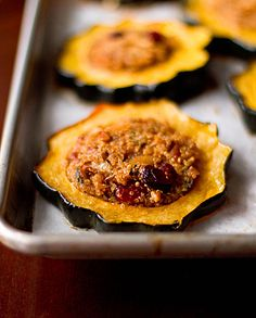 Quinoa-Stuffed Acorn Squash Rings.  Re-Pinned by The Workout Girl.  For workouts you can do anywhere, check out http://www.theworkoutgirl.com