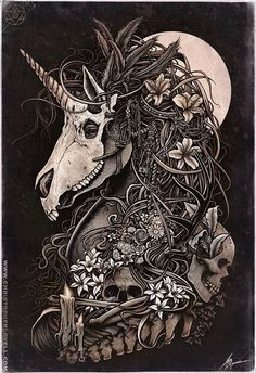 I'd love a skull with plans overtaking it somewhere in there, but not the unicorn one, because I want my unicorn tattoo alive