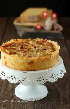 Torta salata di verza e pancetta in crosta di riso e Gruyère | La Cuoca Dentro