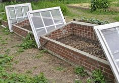 There are many benefits to using raised vegetable garden beds in your garden. For starters, elevated garden beds are easier on your back and knees because they require less bending, kneeling and crawling than . Cheap Greenhouse, Backyard Greenhouse, Greenhouse Ideas, Pallet Greenhouse, Cold Frame Gardening, Brick Garden, Glass Garden, Green Garden, Greenhouse Interiors